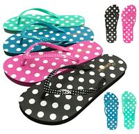 NEW Women's Polka Dot Sandals Flat Rubber Sole Thong Flip Flop Shoe Size 5 to 10