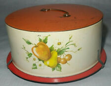 Vintage Decoware Cake Pie Tin Metal Carrier Saver Server Red White / Fruit Decal