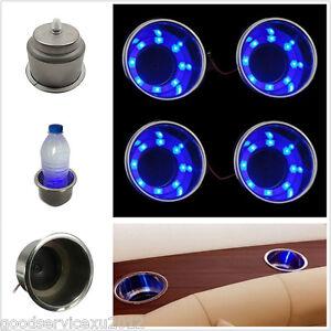 Portable 4 Pcs DC12V Blue LED Car Marine Boat Camper Interior Cup Drink Holder