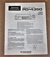 Pioneer PD-4350 cd player ORIGINAL user manual in ENGLISH Language!