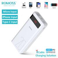 ROMOSS 18W PD 20000mAh Portable Power Bank Type-C QC3.0 External Battery Charger