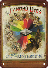 """7"""" x 10"""" Metal Sign - Diamond Dyes - Vintage Look Reproduction"""