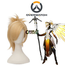 Popular Overwatch OW Mercy Angela Ziegl 30CM Short Blonde Cosplay Wig + Ponytail