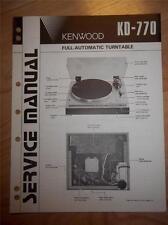Kenwood Service Manual~KD-770 Turntable~Original Repair Manual