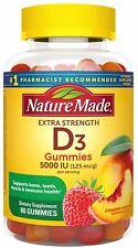 Nature Made Vitamin D3 125 mcg (5000 IU) Gummies, 80 Count for Bone Health 80 Ct