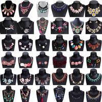 Fashion Women Flower Pendant Bib Choker Chunky Chain Statement Necklace Jewelry