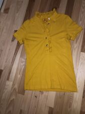 Tory Burch Mustard Yellow Ruffle Neck Blouse Size XS