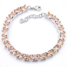 Natural Stone Square Natural Honey Morganite Gemstone Silver Charm Bracelets