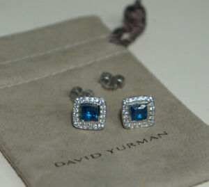 David Yurman 925 Silver 585 Blue Topaz Diamond Petite Ablion Stud Earrings Pouch