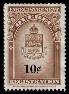 QUEBEC RARE 1962 10c #QR30 VF MINT NO GUM NH REGISTRATION STAMP CAT $7.50