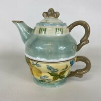 Tracy Porter Tea For One Hand Painted Floral Ceramic Tea Pot Cup Vintage Pear