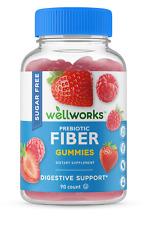 WellWorks Sugar Free Prebiotic Fiber – Great Tasting – 90 Gummies – 45 Doses