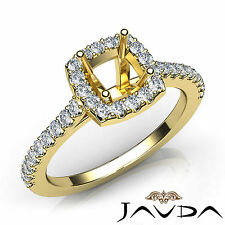 Cushion Diamond Prong Setting Engagement 14k Yellow Gold Semi Mount Ring 0.50Ct