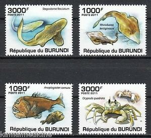 Fish, Crab, Marine Life, Burundi 2011 MNH 4v