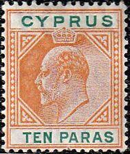 "Cyprus Edward Vii 1904-10 Sg 61 10para Varieties Flat ""C"" 00004000  & ""Broken Frame"" Mint"