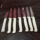 Vintage Quikut Steak Knives Set - Stainless w/ Plastic Handles