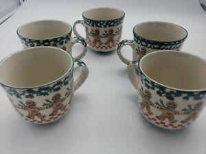 5 Folk Craft Gingerbread Man Christmas Mugs Cups Tienshan Green Spongeware!