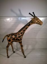More details for vintage tall giraffe statue leather wrapped 18