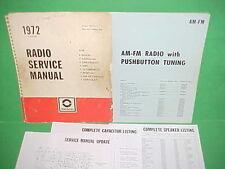 1972 CAMARO CORVETTE EL CAMINO FIREBIRD GTO 442 DELCO AM-FM RADIO SERVICE MANUAL