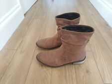 Next Brown Mid Calf Leather  Boots Size