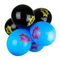 12 Black Blue Zap Pow Superhero Comic Children's Birthday Party Latex Balloons