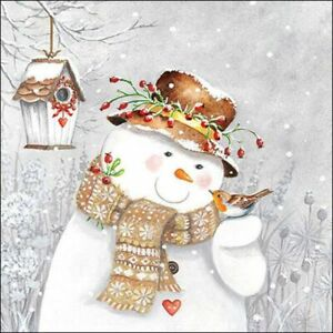 4 x Single Paper Napkin/Decoupage/Napkin Art/Christmas/Snowman Holding Robin