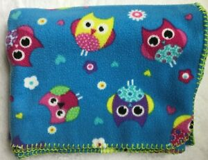 Barnes & Noble Punctuate Fleece Throw Blanket Stitched Blue Owls