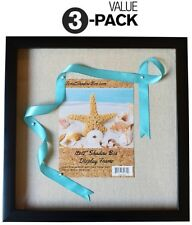 """(3-Pack) 12x12"""" Black Shadow Box Frame with Linen Background with 8 Stick Pins"""