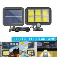 120 LED Solarleuchte mit Bewegungsmelder Solarstrahler Außen Gartenlampe #ly