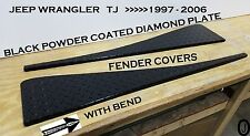 Jeep Wrangler TJ Black Powder Coated Diamond Plate Fender Covers With Bend Set