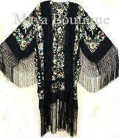 Embroidered Flamenco Silk Opera Coat Kimono Jacket Floral Birds Maya Matazaro