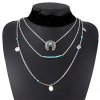 Boho Bohemian Retro Necklace Silver Turquoise Hippie Ethnic Festival Jewelry FT