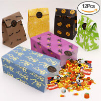 12x Halloween Party Treat Bags Paper Gift Bags with Trick or Treat Stickers