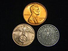 1944 BU Lincoln Cent + Nazi Coin WW2 3rd Reich German US Lot