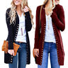 Women V Neck Button Up Cardigan Long Sleeve Casual Plain Ladies Open Coat Jumper