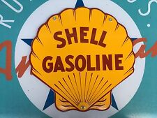 SHELL GASOLINE top QUALITY diecut shell porcelain coated 18 GAUGE steel SIGN