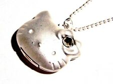 HELLO KITTY METALLIC WHITE SILVER LOCKET PENDANT kawaii cute kitsch necklace M2