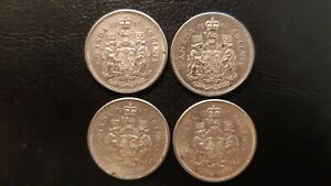 1961, 1962, 1963, 1964 CANADA SILVER HALF DOLLARS 50 Cent Coins CIRCULATED