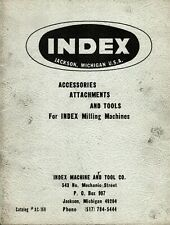 INDEX MILLING MACHINE ACCESSORIES ATTACHMENTS and TOOLS CATALOG #AC-168