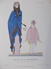 PLANCHE GAZETTE DU  BON TON LEPAPE L HEURE DE LA PROMENADE MANTEAUX DE J. LANVIN