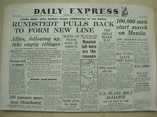 DAILY EXPRESS WWII NEWSPAPER JANUARY 11th 1945 GERMAN TROOPS WITHDRAW IN ARCTIC