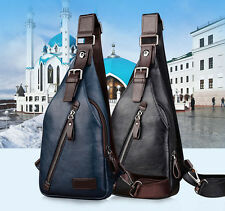 Men Leather Sling Chest Bag Travel  Anti Theft Backpack Retro Crossbody Daypack