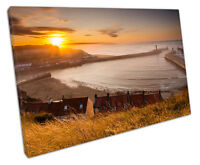 WHITBY HARBOR CANVAS WALL ART PICTURE LARGE 75 X 50 CM