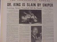 VINTAGE NEWSPAPER HEADLINE~MARTIN LUTHER KING MURDERED KILLED SHOT MLK DEAD 1968