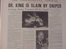 VINTAGE NEWSPAPER HEADLINE ~Dr. MARTIN LUTHER KING MURDERED KILLED SHOT MLK DEAD