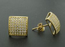 14k White or Yellow Solid Gold MEN 8.5MM LAB DIAMOND ICED 1.00ct Square Earrings