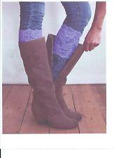 Stretch Lace Boot Cuffs Leg Warmers Purple Trim Toppers Socks