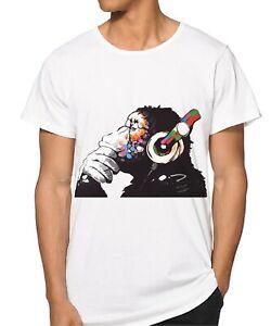 MEN Banksy Thinker Monkey T-Shirt Quality Banksy