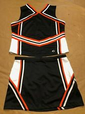 New High School Varsity Cheerleader Cheerleading Uniform Orange Black 43/35 2Xl
