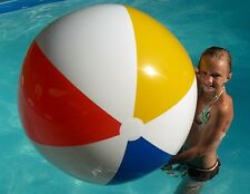 "48"" CLASSIC Inflatable Beach Ball - White, Red, Yellow, Blue - Glossy Vinyl"